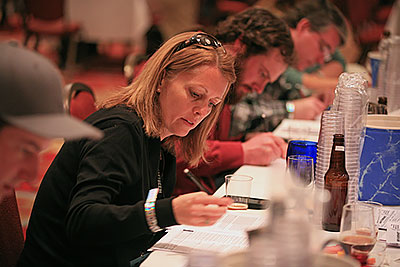 Jill Redding judging the Homebrew Competition